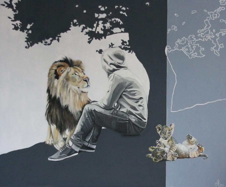 Kunst: My brave new world van kunstenaar Angelique-Mathijssen-van-den Bosch