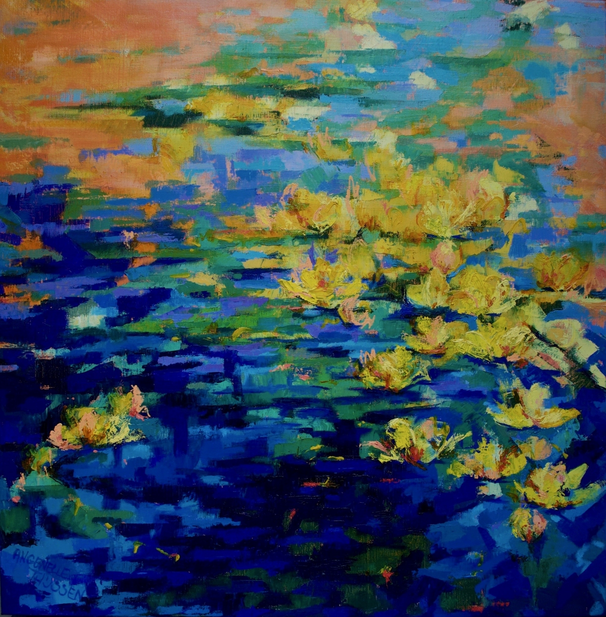Kunst: Nympheae Yellow I van kunstenaar Angenelle Thijssen