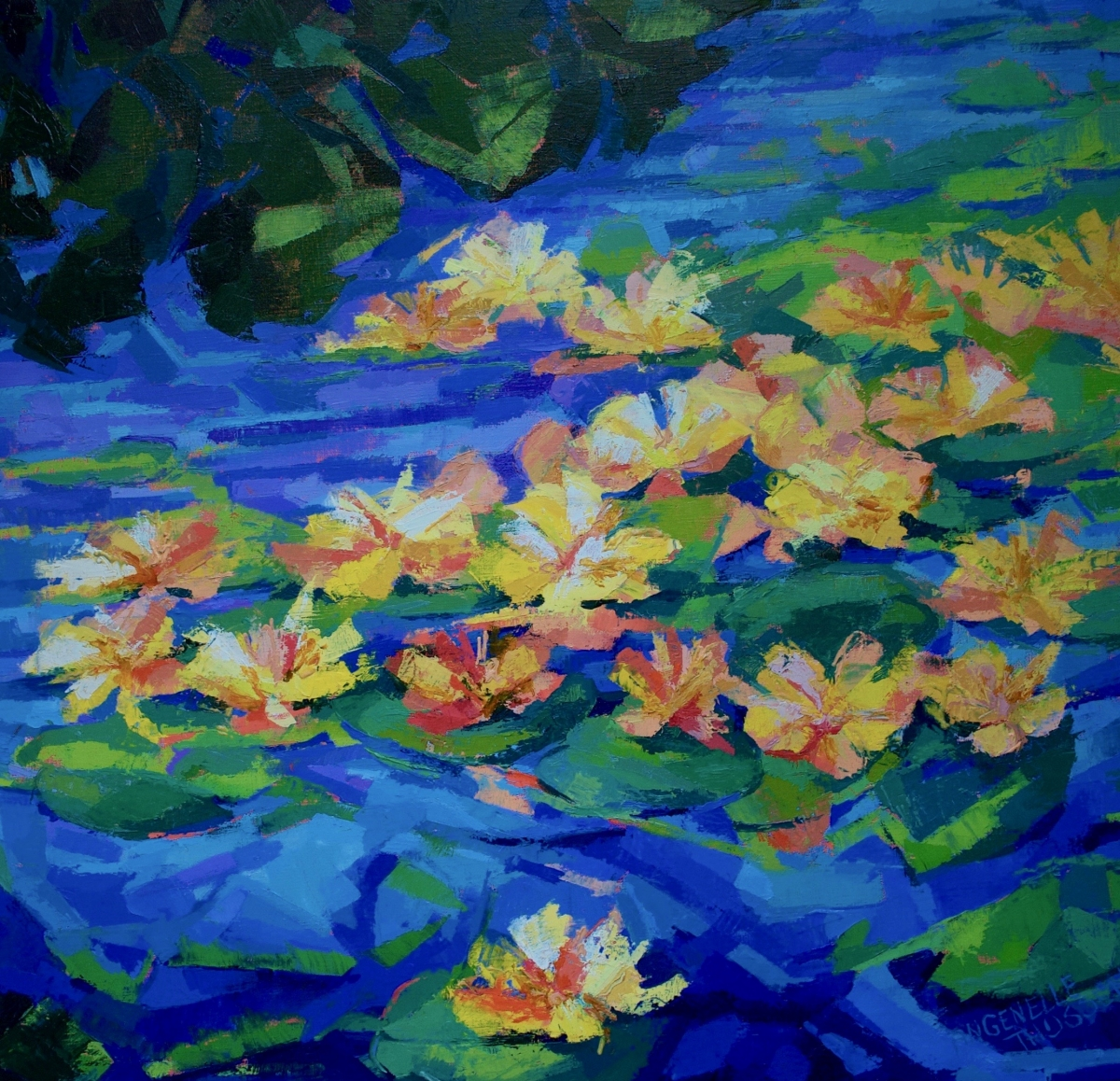 Kunst: Nympheae Yellow II van kunstenaar Angenelle Thijssen
