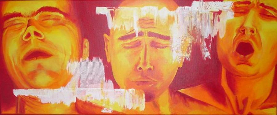 Kunst: Orange grimace van kunstenaar Tamara Sille