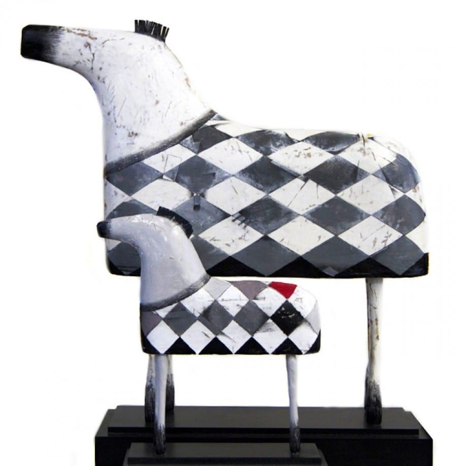 Kunst: Paard groot en klein (zwart/wit) van kunstenaar Aad de Wit