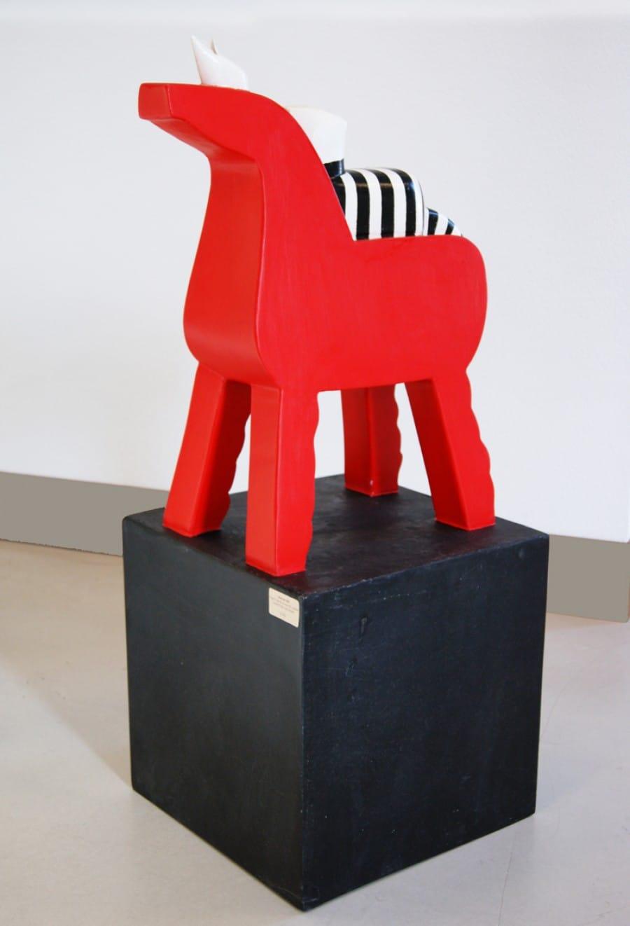 Kunst: Paard met Kat en Muis van kunstenaar Aad de Wit