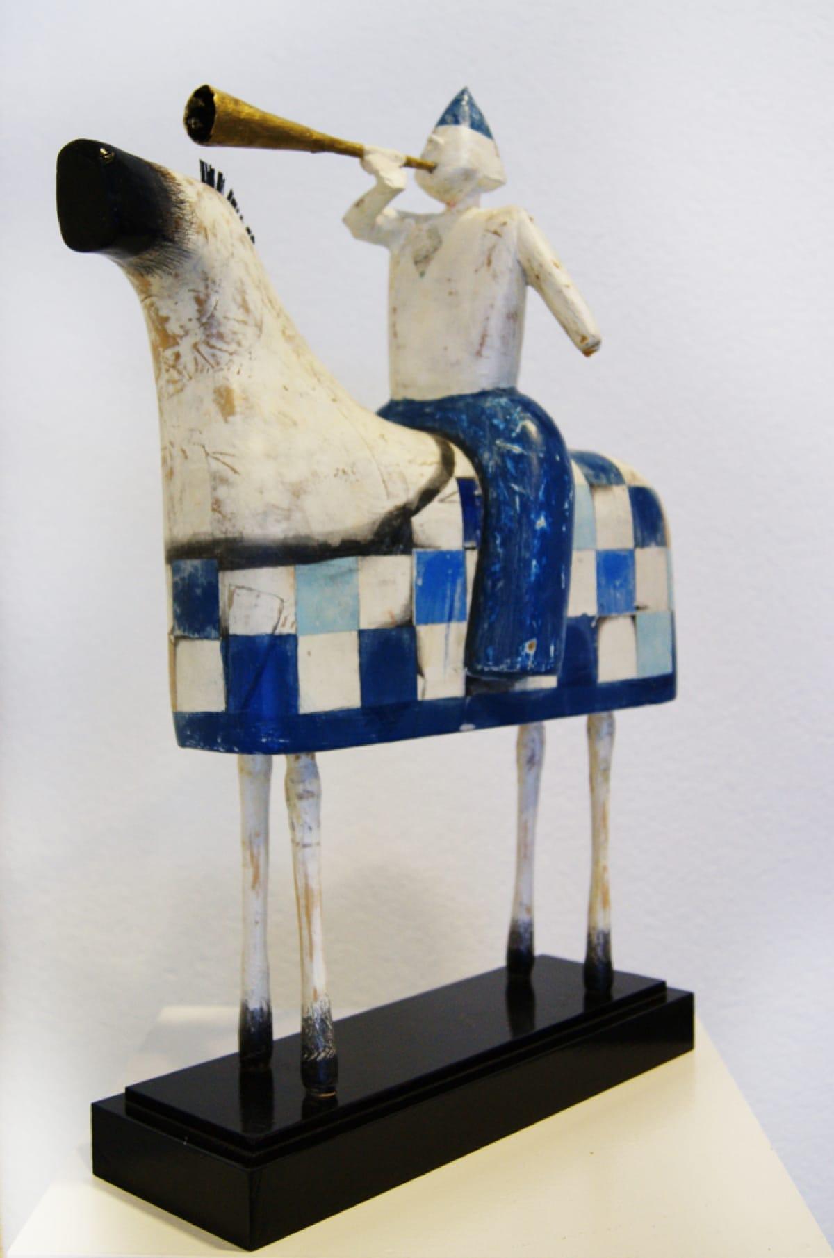 Kunst: Paard met ruiter blauw van kunstenaar Aad de Wit