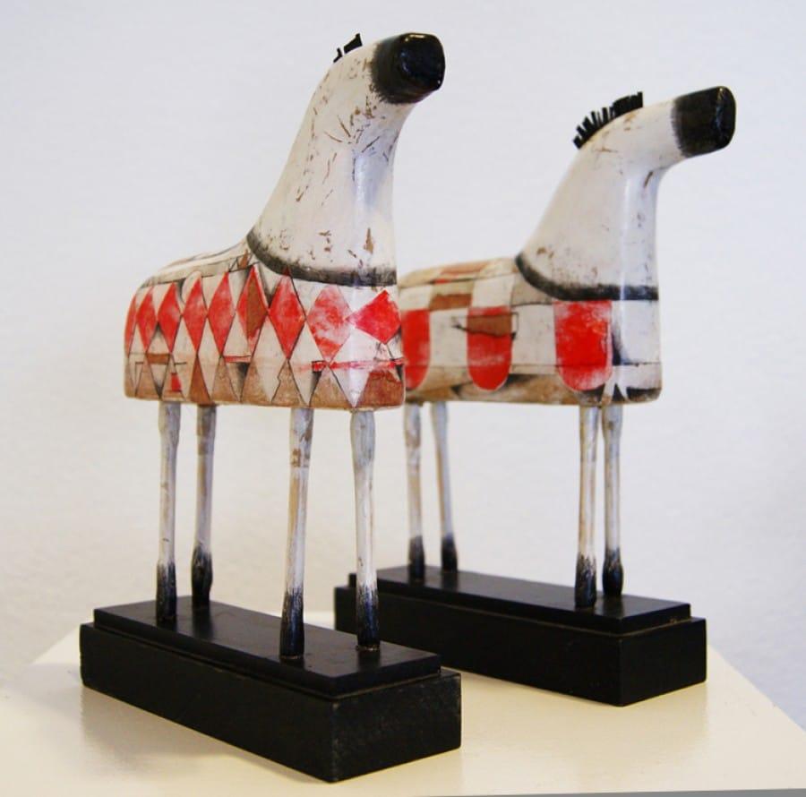 Kunst: Paardje klein (rood) van kunstenaar Aad de Wit