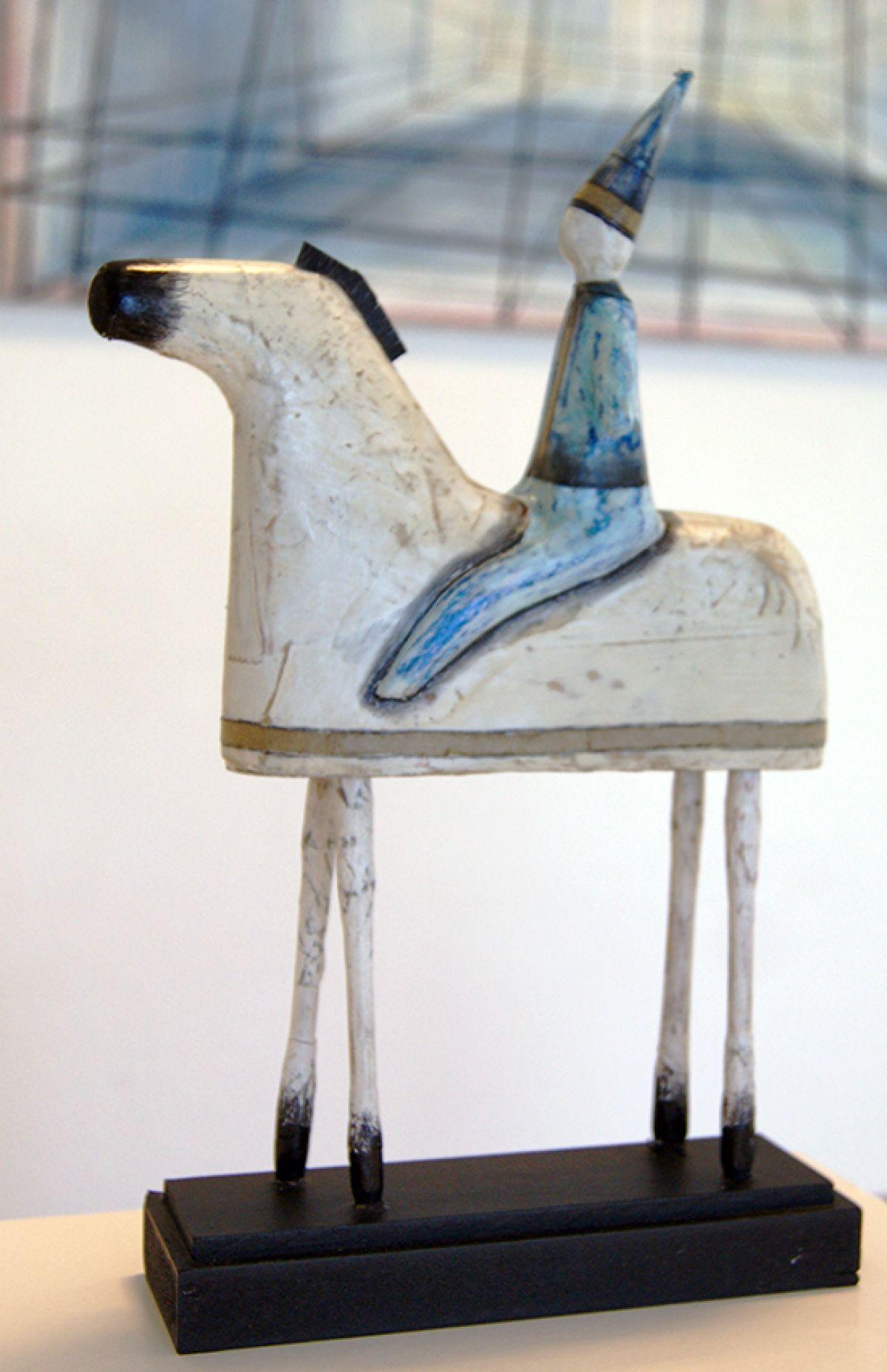 Kunst: Paardje met ruiter van kunstenaar Aad de Wit