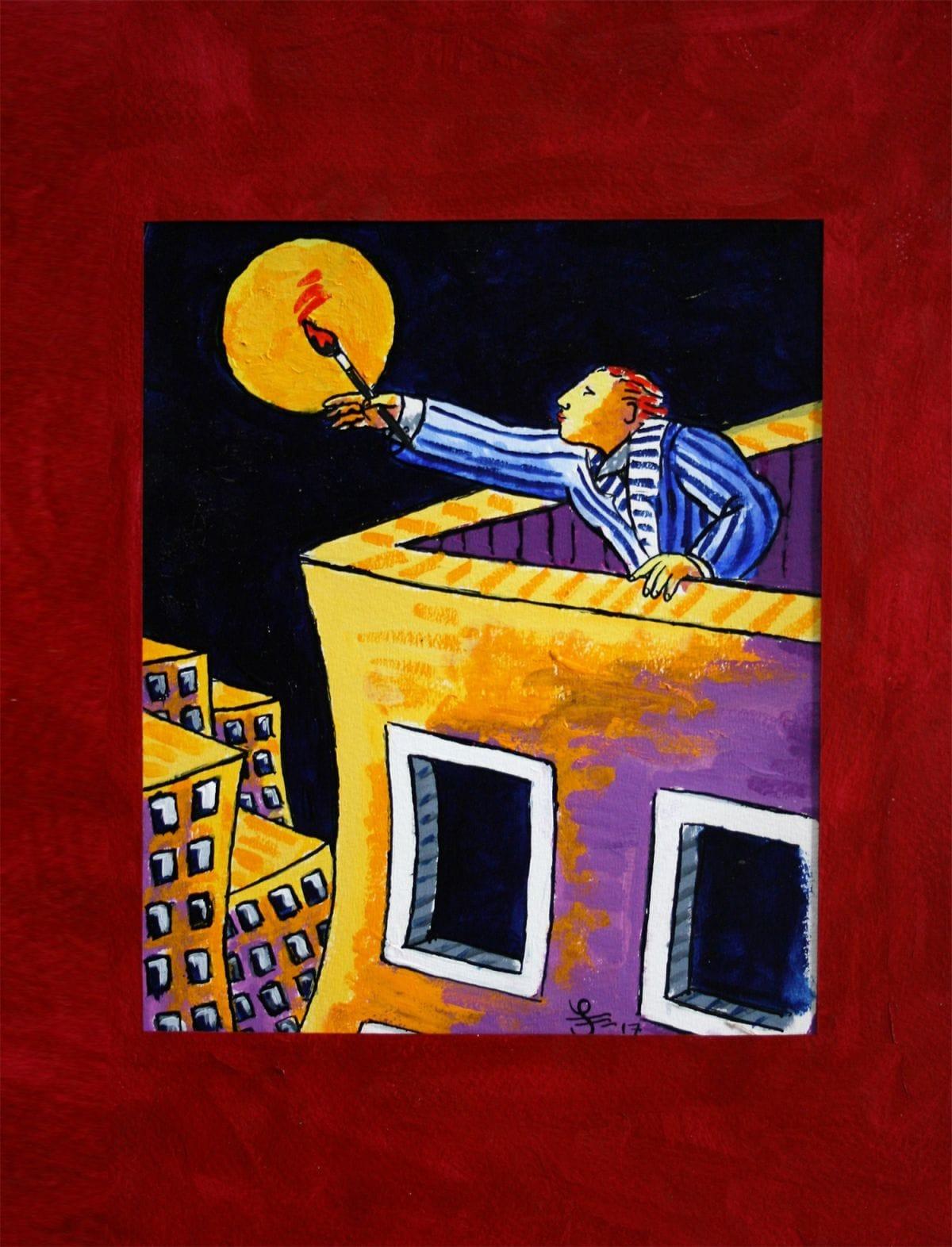 Kunst: Painting the Moon van kunstenaar Jacques Tange