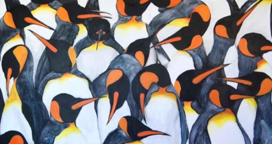 Kunst: Penguin meeting van kunstenaar Tamara Sille