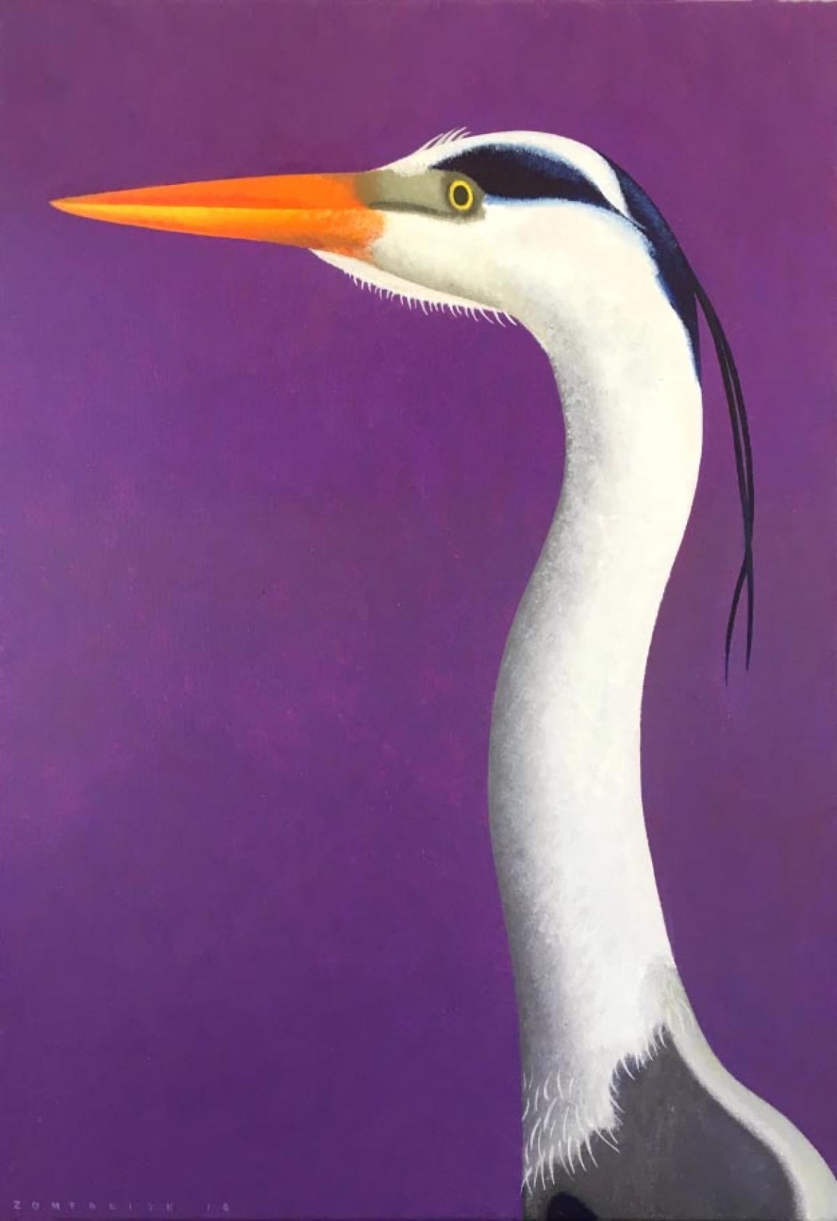 Kunst: Portret van een blauwe reiger van kunstenaar Yvonne Zomerdijk