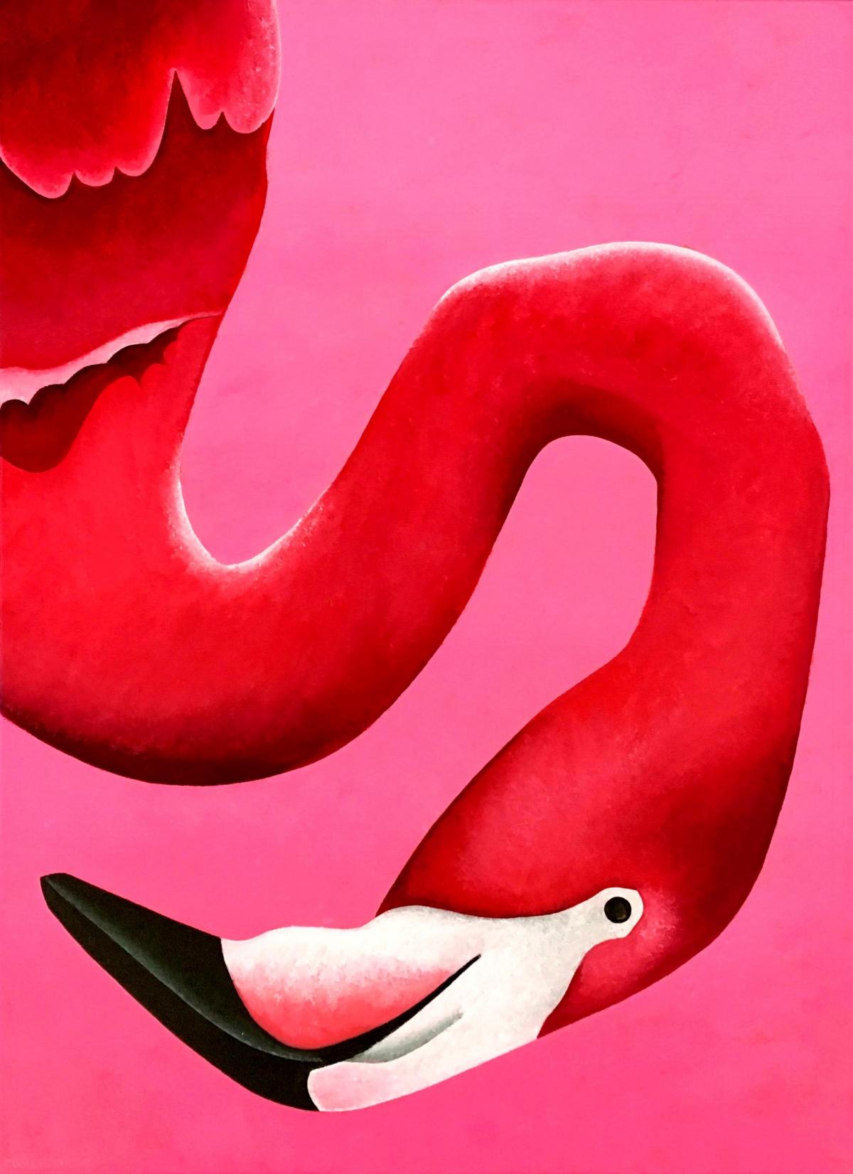 Kunst: Portret van een flamingo van kunstenaar Yvonne Zomerdijk