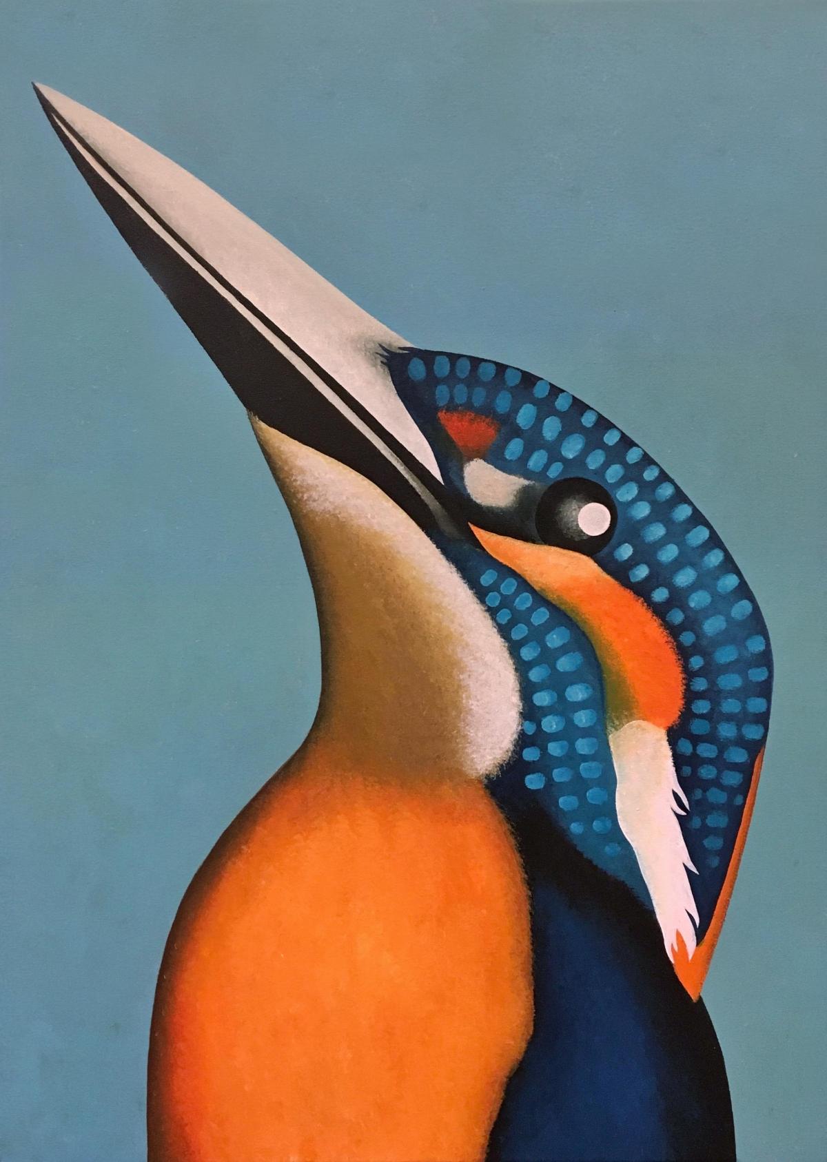Kunst: portret van een ijsvogel van kunstenaar Yvonne Zomerdijk