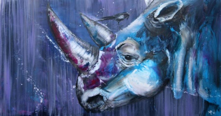 Kunst: Purple Rhino II van kunstenaar Tamara Sille