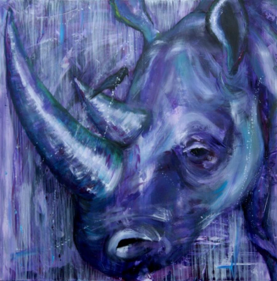 Kunst: Purple Rhino III van kunstenaar Tamara Sille