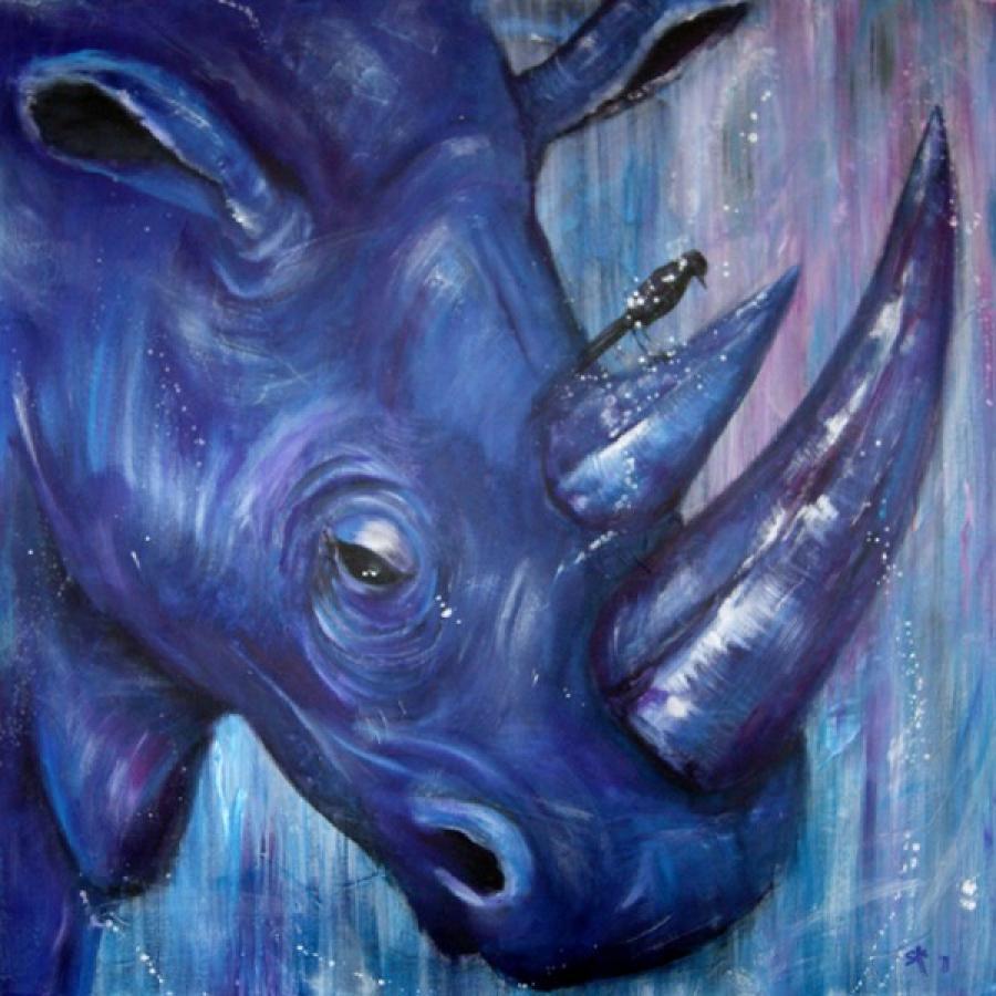 Kunst: Purple Rhino IV van kunstenaar Tamara Sille