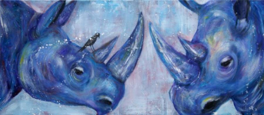 Kunst: Purple Rhino V van kunstenaar Tamara Sille
