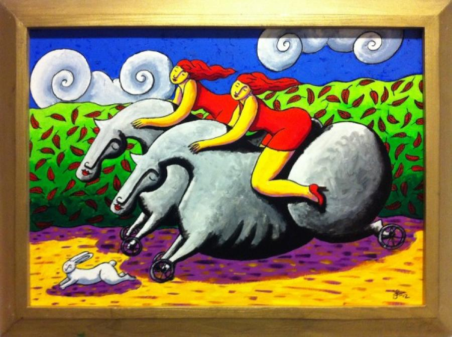 Kunst: Racing on wheels van kunstenaar Jacques Tange