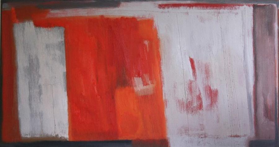 Kunst: Rood landschap – Augustus van kunstenaar Lou Vos