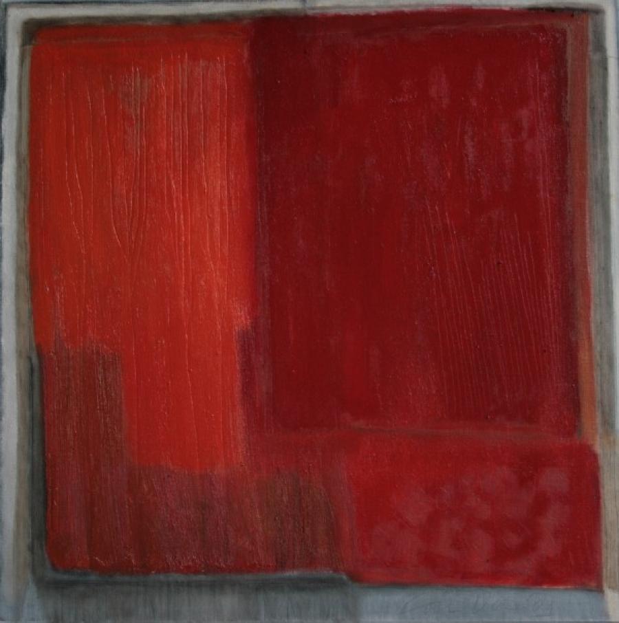 Kunst: Rood landschap IV van kunstenaar Lou Vos