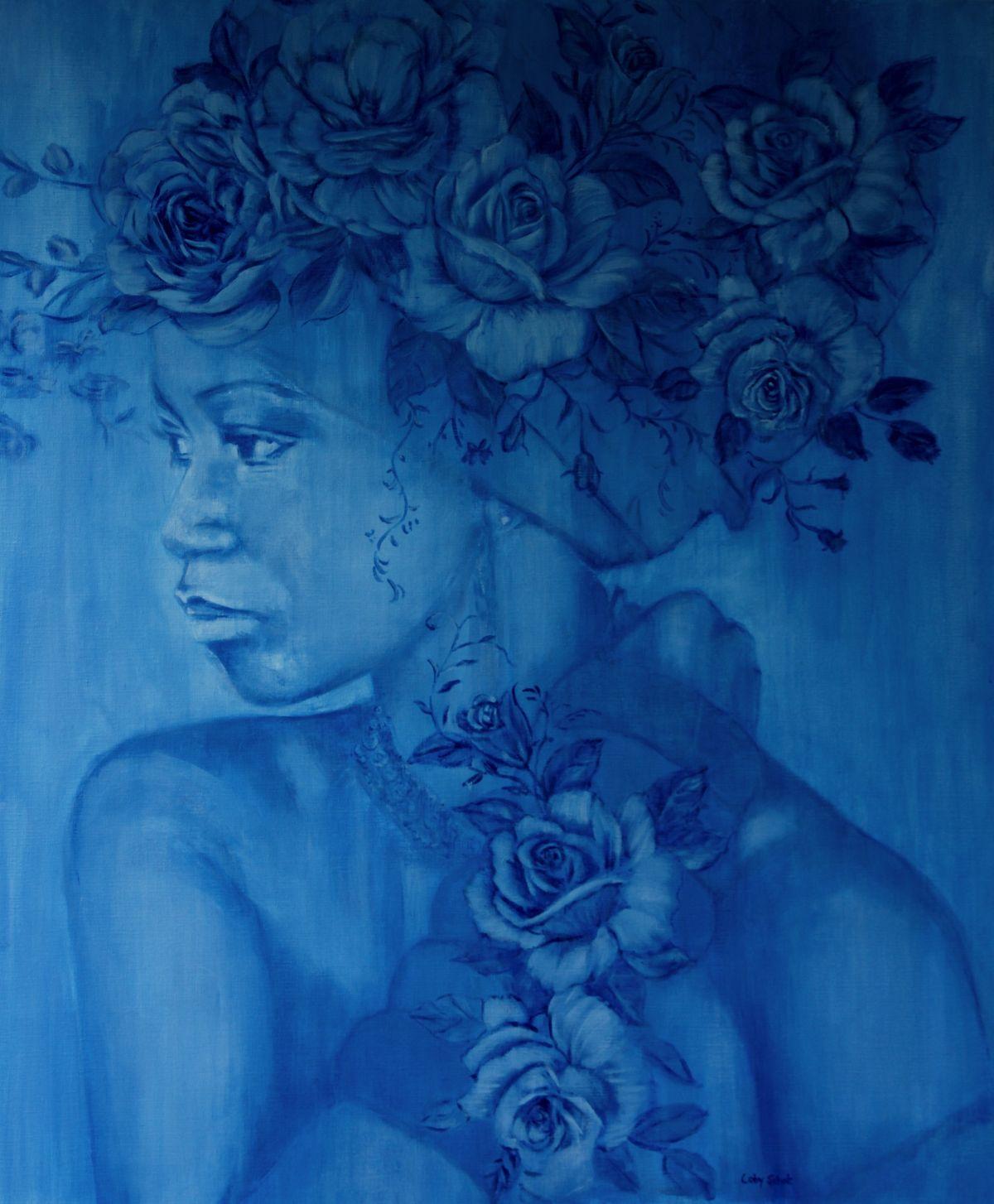 Kunst: Rose Africaine en bleu de Delft van kunstenaar Coby Schot