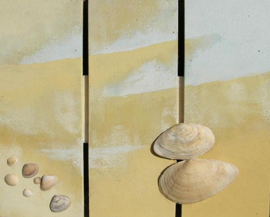 Kunst: schelpendrieluik 1 van kunstenaar Koeno Jansen