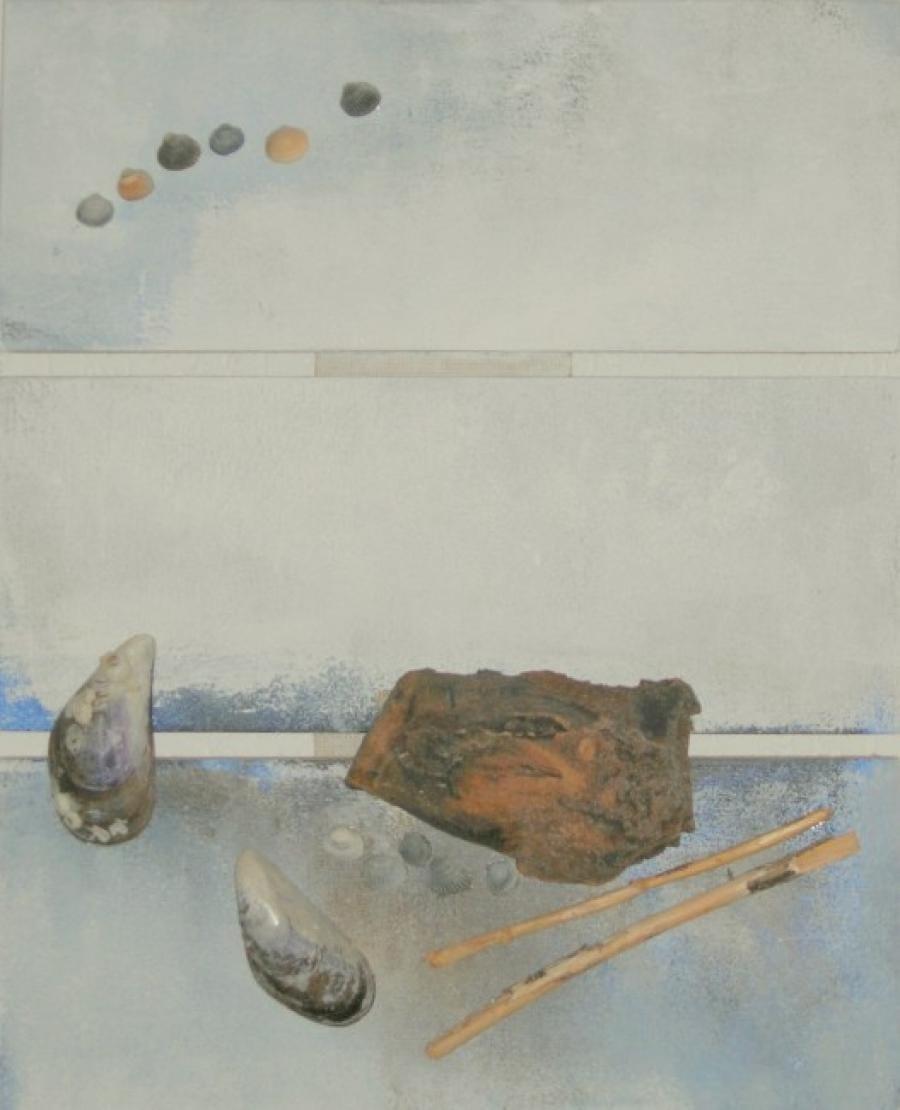 Kunst: schelpendrieluik  3 van kunstenaar Koeno Jansen