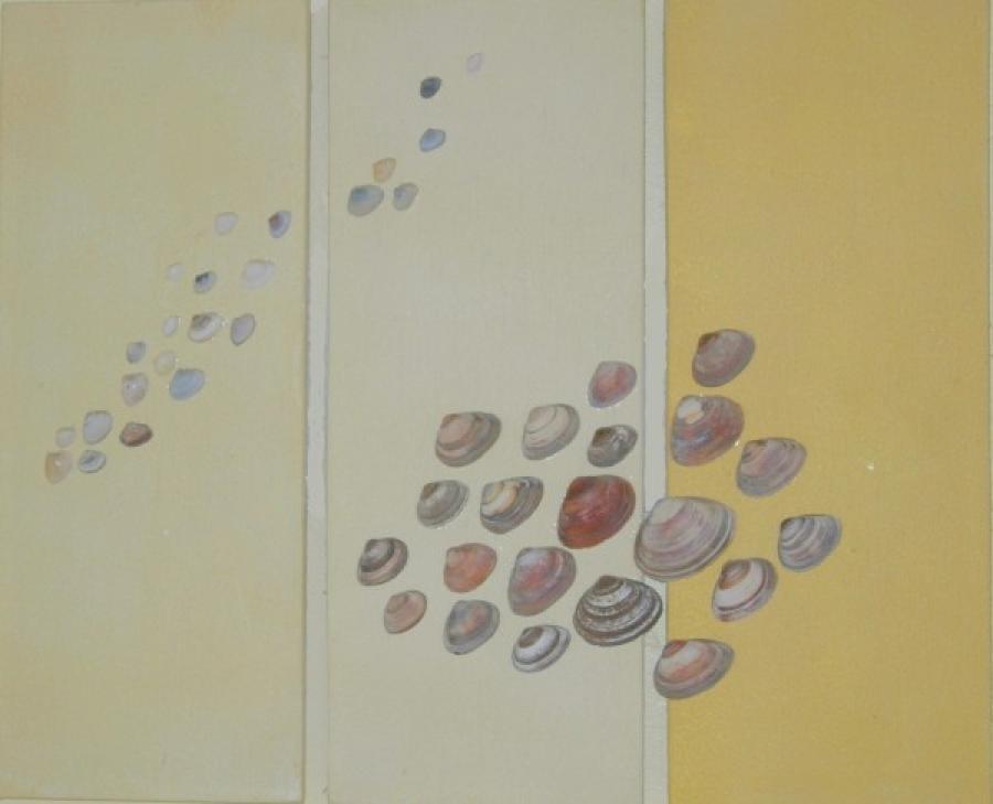 Kunst: schelpendrieluik  4 van kunstenaar Koeno Jansen