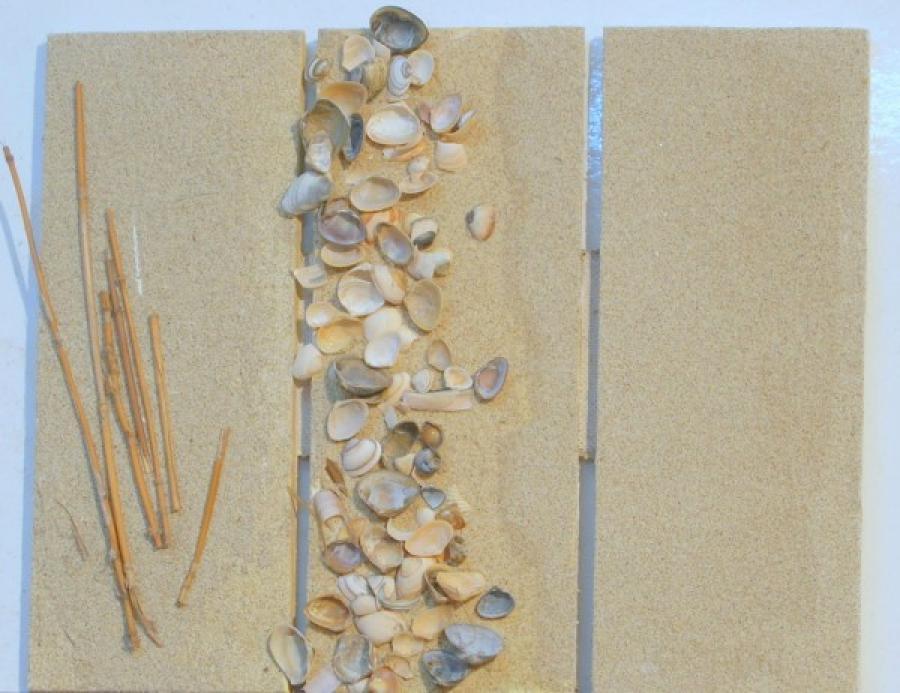 Kunst: schelpendrieluik  5 van kunstenaar Koeno Jansen