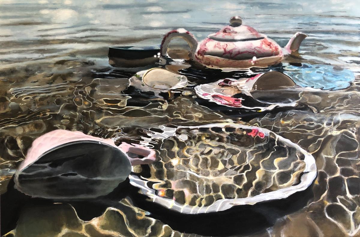 Kunst: Servies in het meer van kunstenaar Hannelore Houdijk