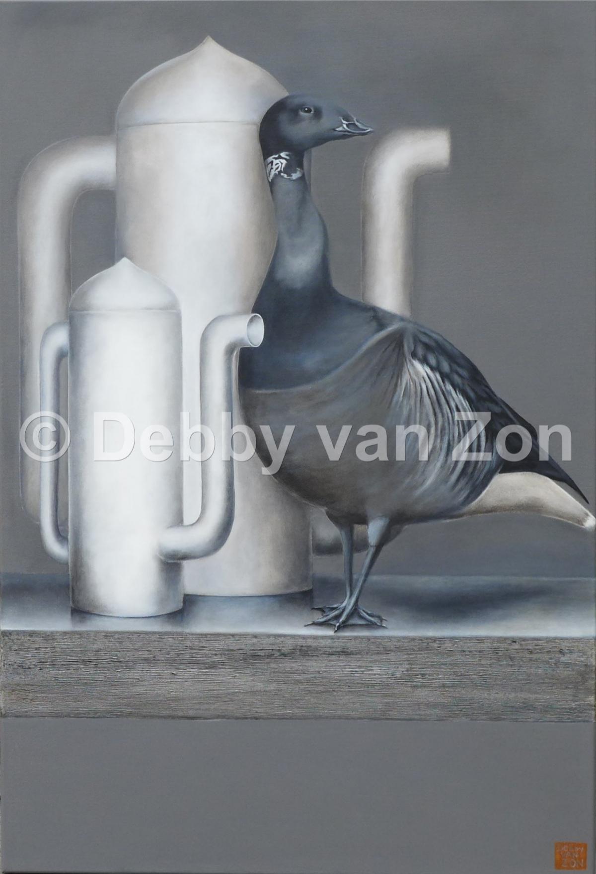 Kunst: Silence in Grey 2 van kunstenaar Debby van Zon
