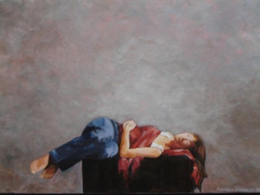 Kunst: slapende vrouw van kunstenaar Miranda Karskens