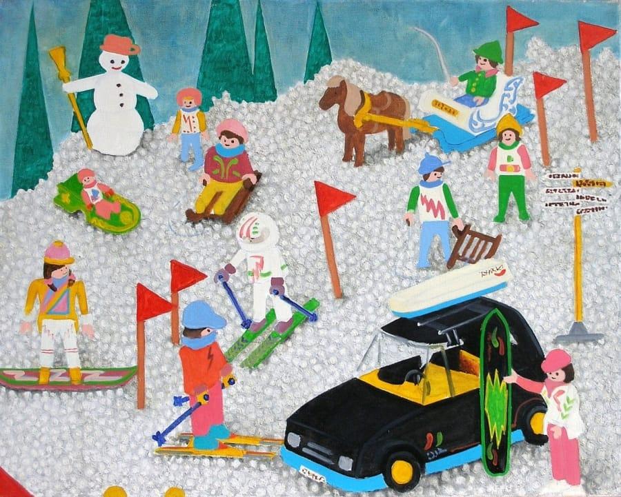 Kunst: sneeuwpret met 13 figuurtjes van kunstenaar Leo Wijnhoven