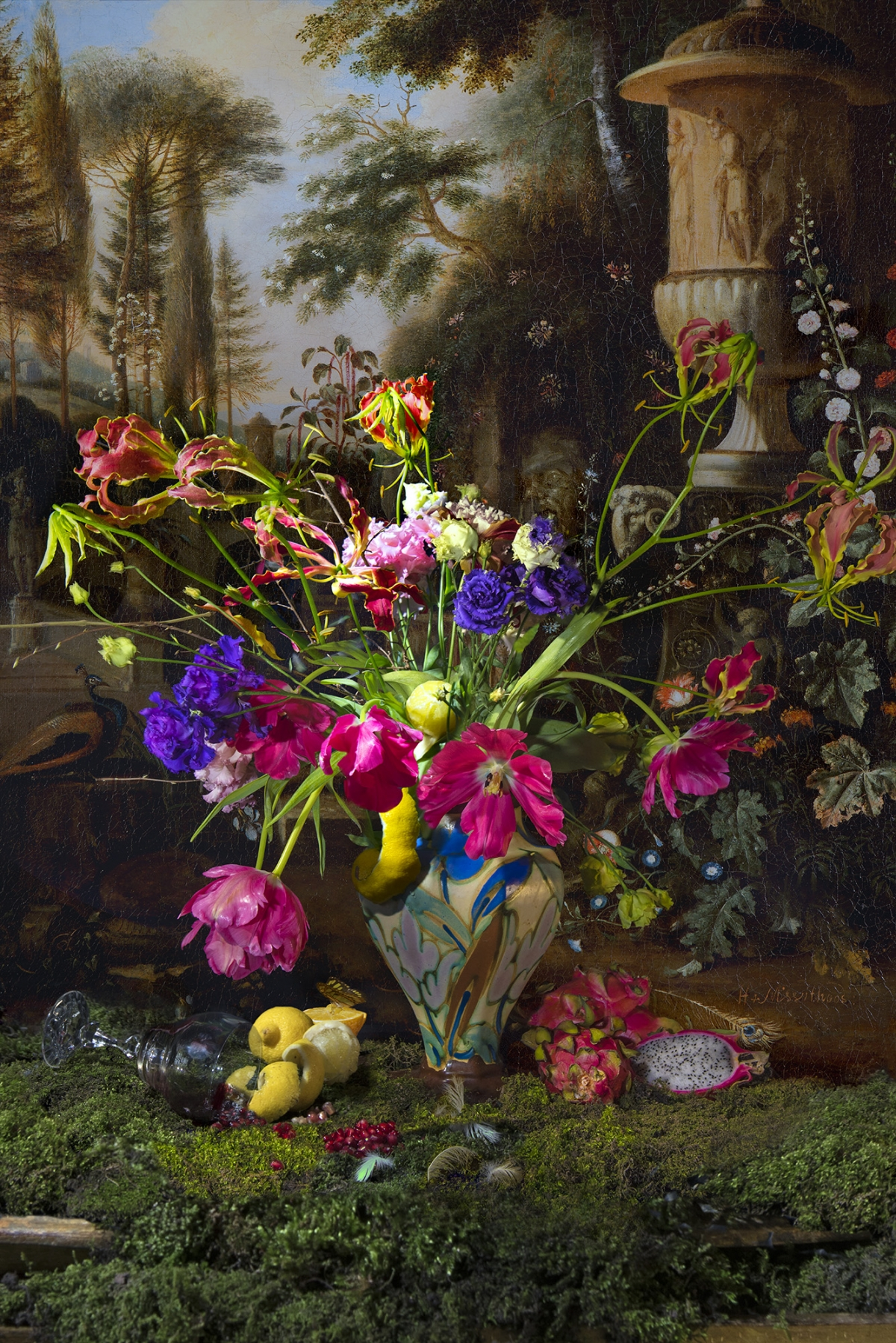 Kunst: Still life with butterfly van kunstenaar Hans Withoos