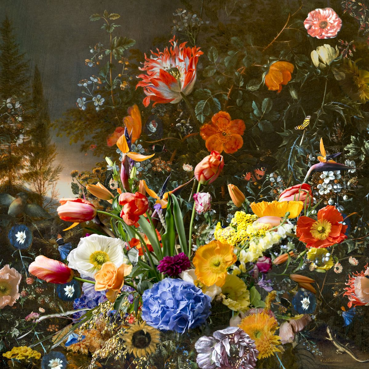 Kunst: still life with flowers and bird's nest van kunstenaar Hans Withoos
