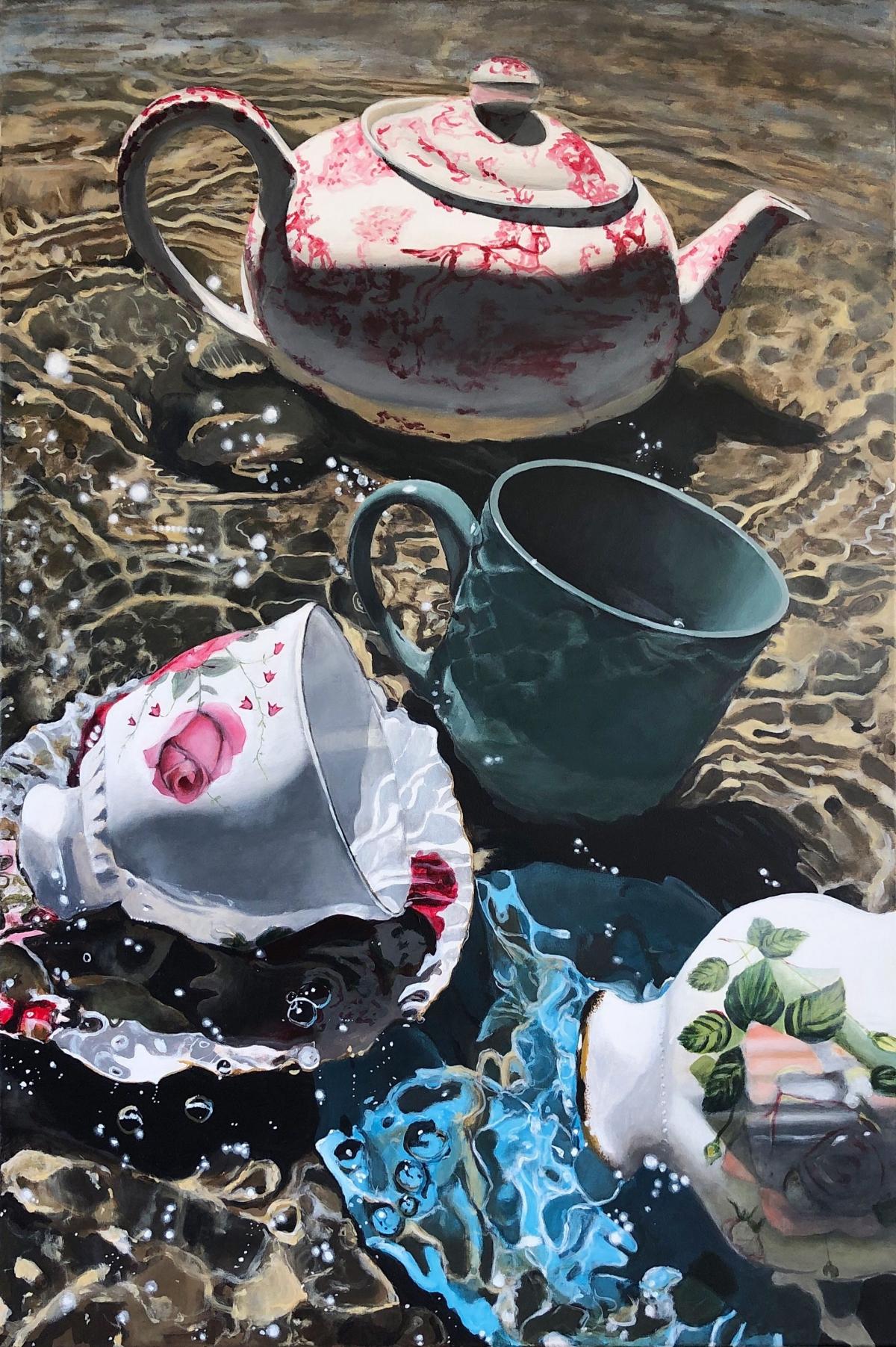 Kunst: Theepot in het water van kunstenaar Hannelore Houdijk