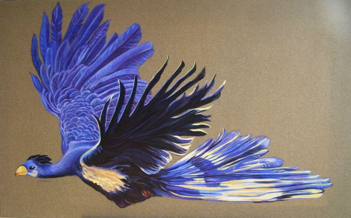 Kunst: Touracu in blauw van kunstenaar Sanneke S.I. Griepink