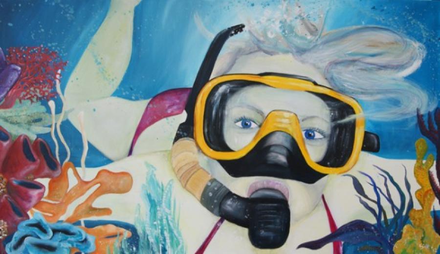 Kunst: Underwater Girl I van kunstenaar Tamara Sille