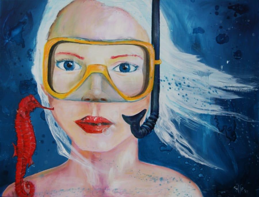 Kunst: Underwater Girl II van kunstenaar Tamara Sille