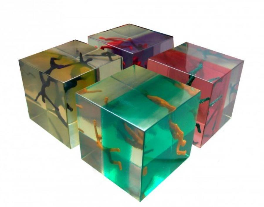 Kunst: Vier kubussen 2 van kunstenaar Frans Muhren