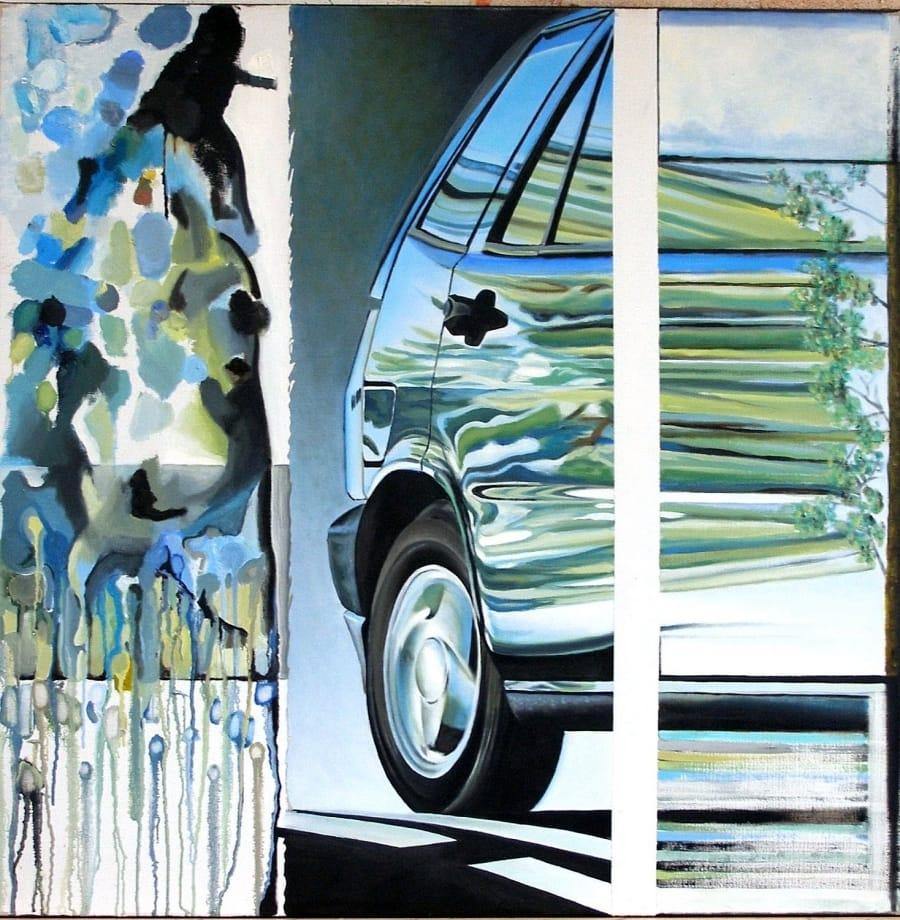 Kunst: voorruit,achterruit van kunstenaar Leo Wijnhoven