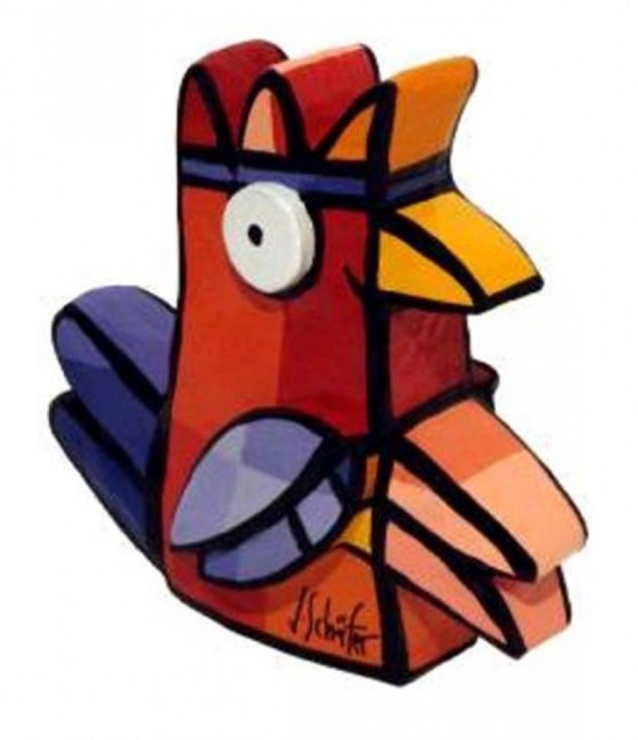 Kunst: Vreemde vogel I (haantje rood) van kunstenaar Jacqueline Schäfer