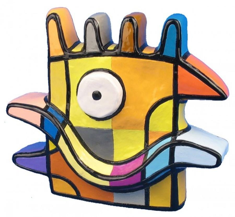 Kunst: Vreemde vogel II groot (geel) van kunstenaar Jacqueline Schäfer