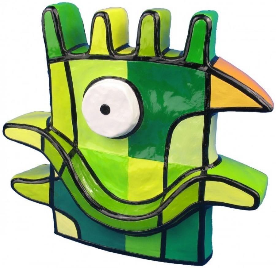 Kunst: Vreemde Vogel IV groot (groen) van kunstenaar Jacqueline Schäfer