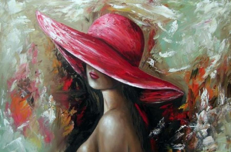 Kunst: Vrouw met hoed van kunstenaar Gena n Gena