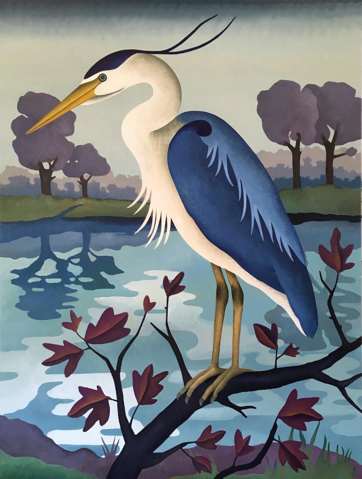 Kunst: Wachtende blauwe reiger van kunstenaar Yvonne Zomerdijk