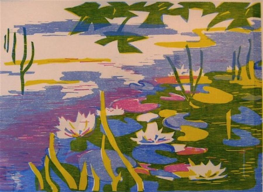 Kunst: waterlelies in de gracht van kunstenaar Angenelle Thijssen