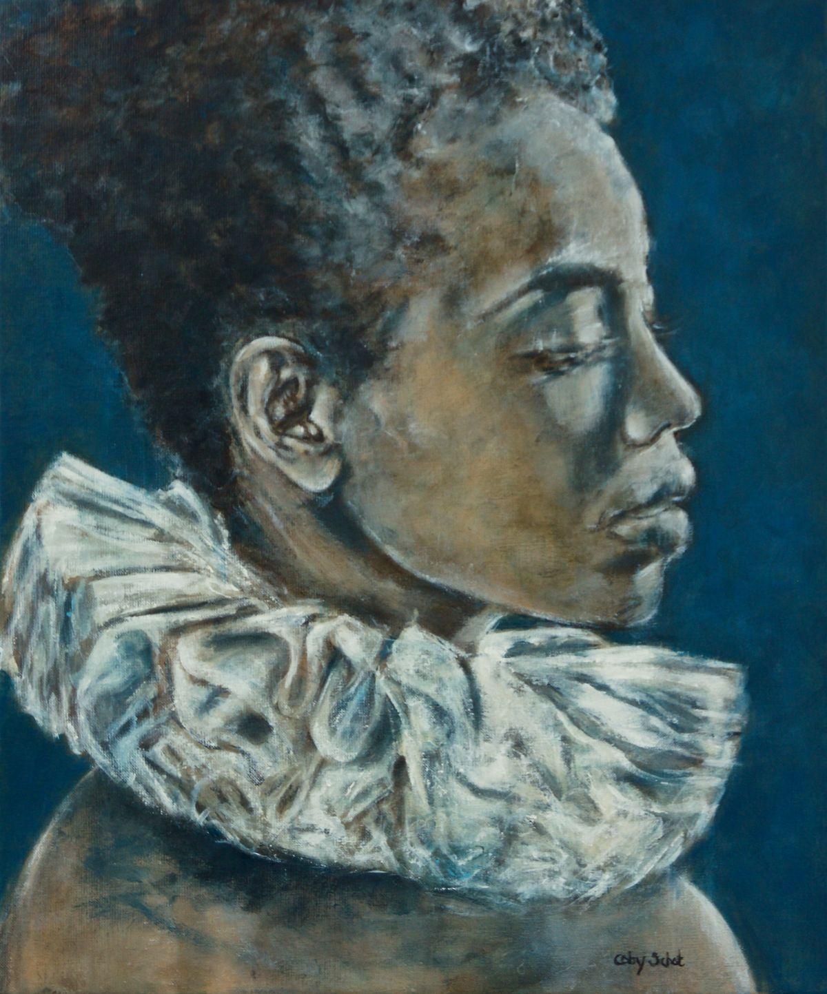Kunst: Woman with collar van kunstenaar Coby Schot