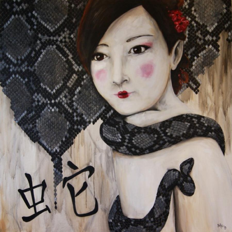 Kunst: Year of the snake II van kunstenaar Tamara Sille