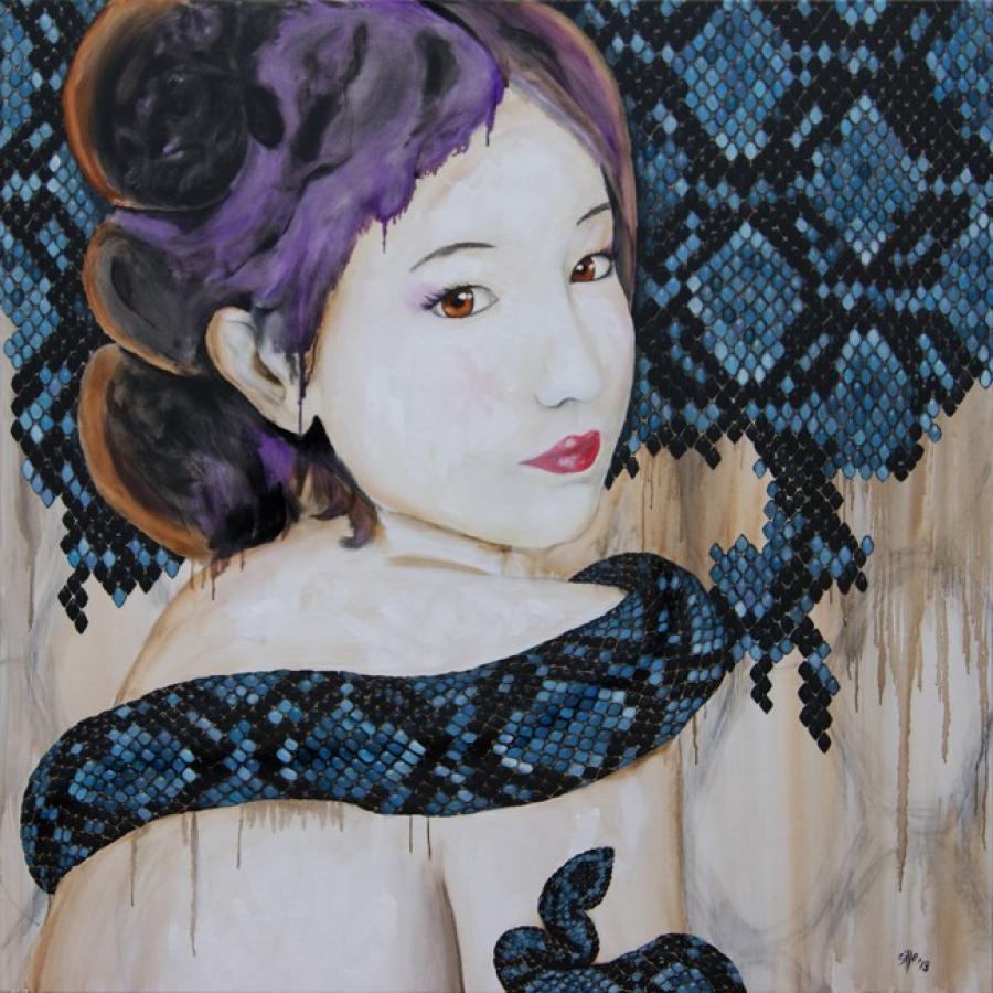 Kunst: Year of the snake III van kunstenaar Tamara Sille