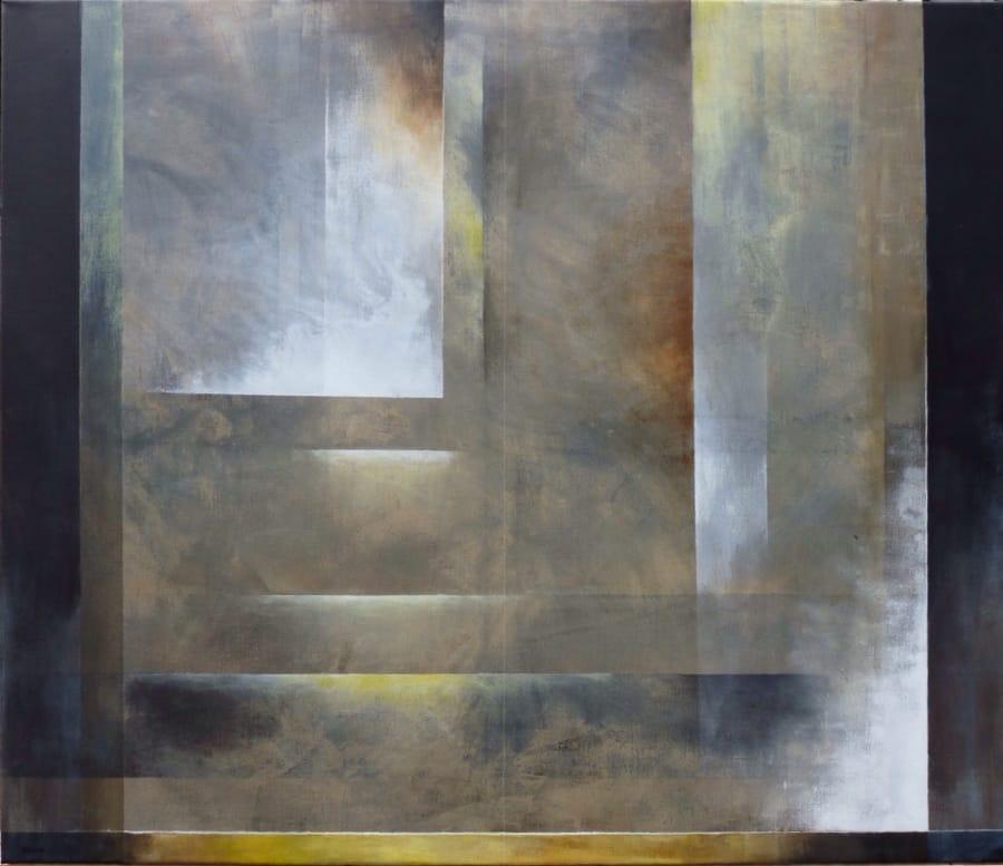 Kunst: zwart, wit, geel, omber en sienna van kunstenaar Koeno Jansen