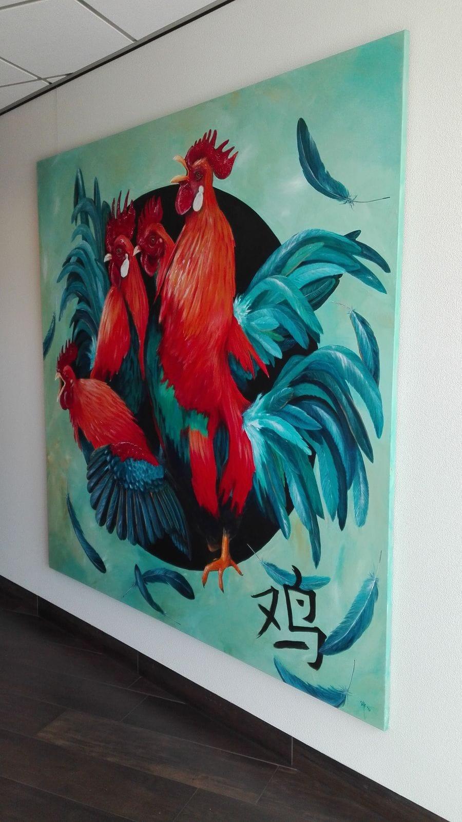 Kunst: Year of the Rooster 2017 van kunstenaar Tamara Sille