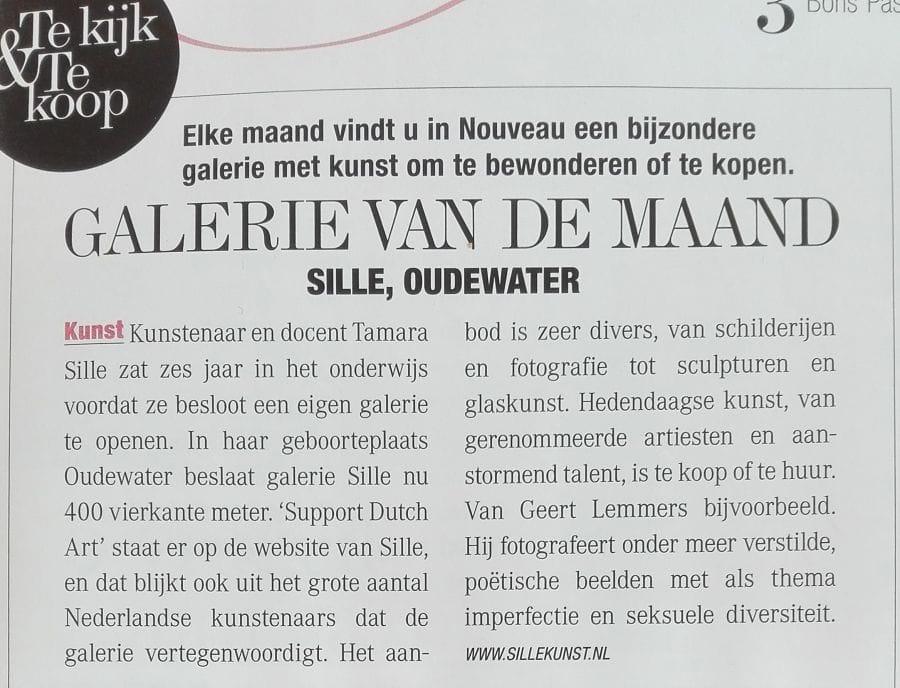 Artikel in Nouveau vandaag en Galerie van de Maand!
